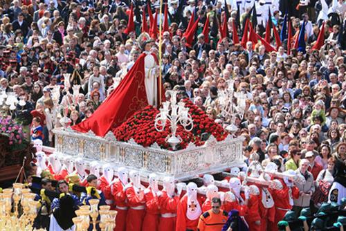 Ferrol, Semana Santa, paso de San Juan Evangelista en la Plaza de Armas